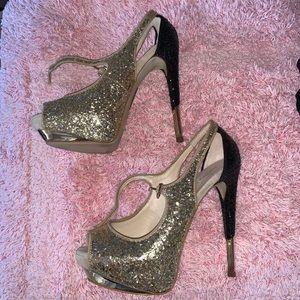 Glitter and chrome heels